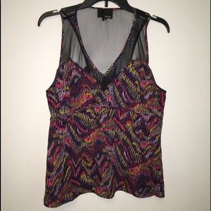 UO Greylin v-neck tank top with net cutout L